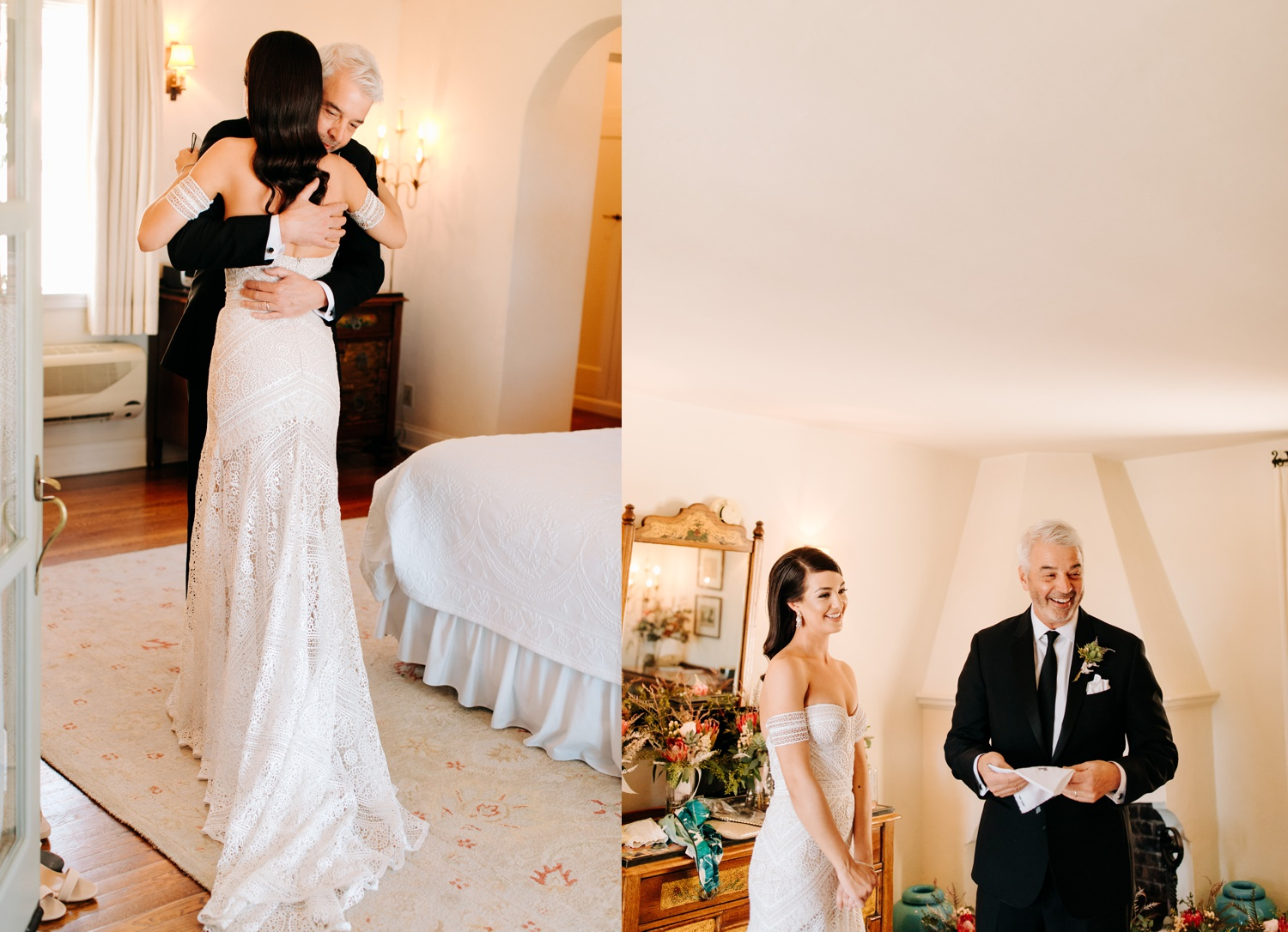 first look with dad on wedding day