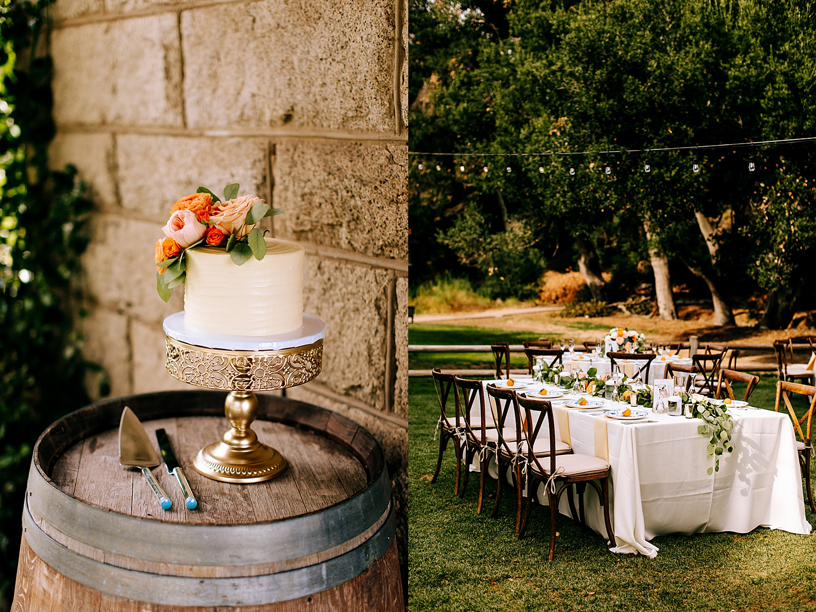 Reception Details for Temecula wedding at Temecula Creek Inn