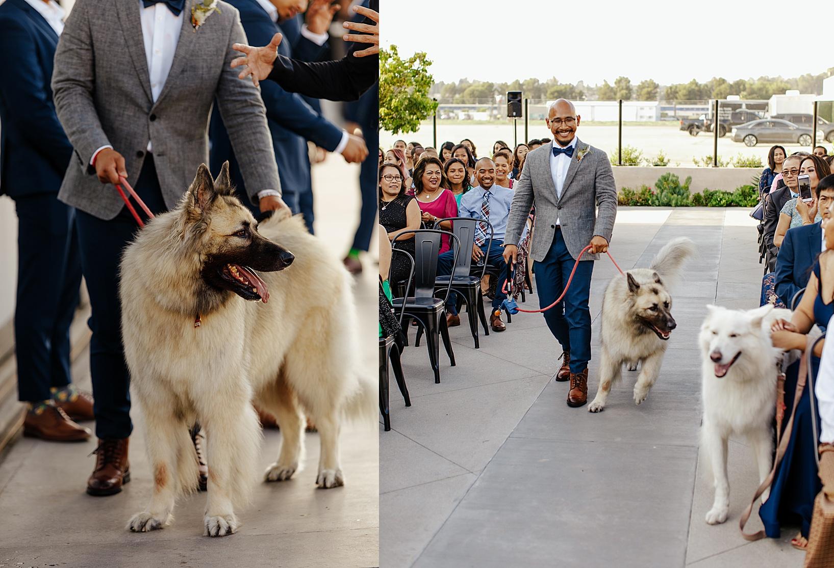 ceremony for Fullerton Wedding at Hangar 21 South