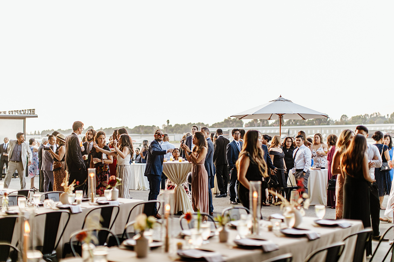 cocktail hour for Fullerton Wedding at Hangar 21 South