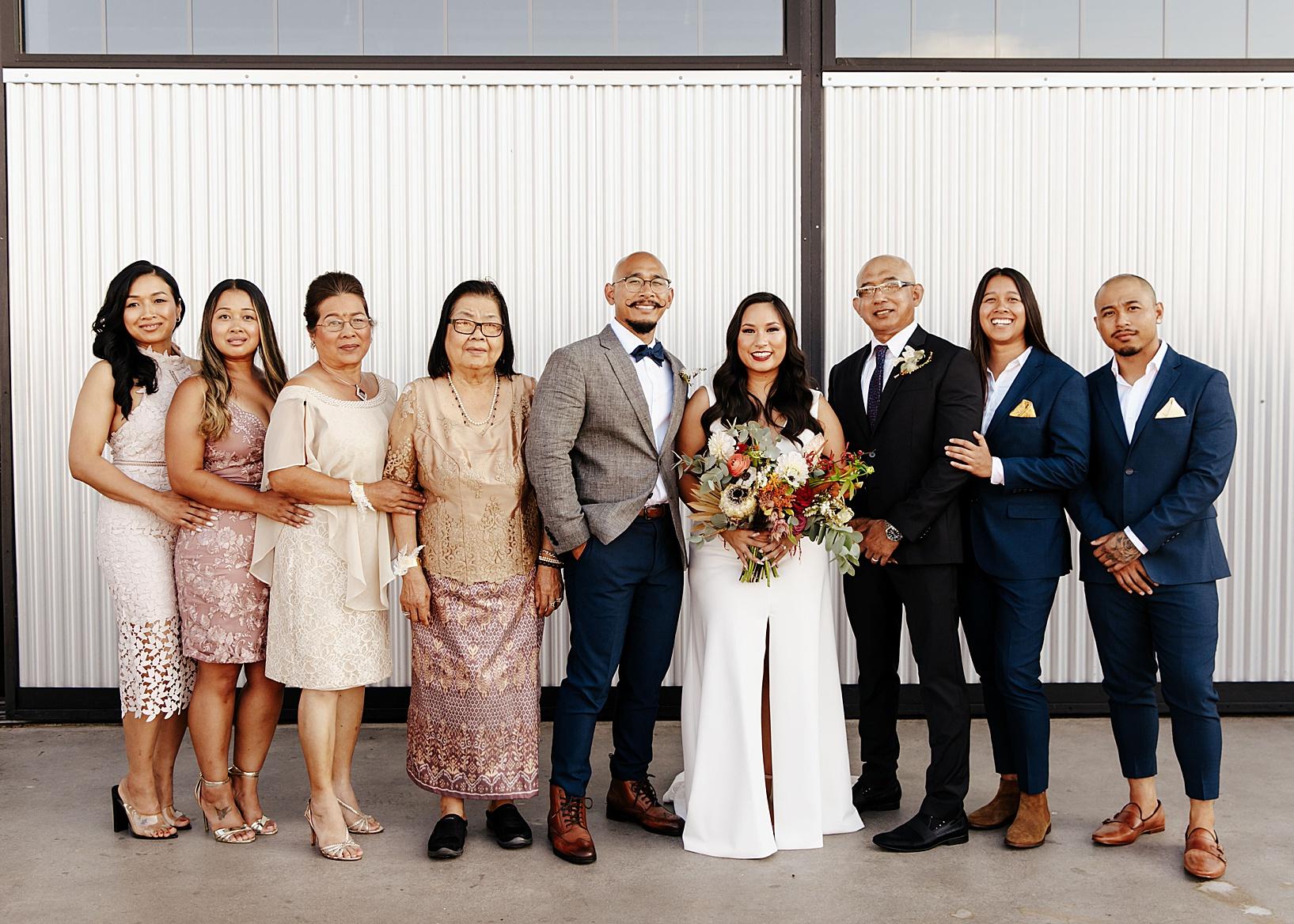 wedding party for Fullerton Wedding at Hangar 21 South