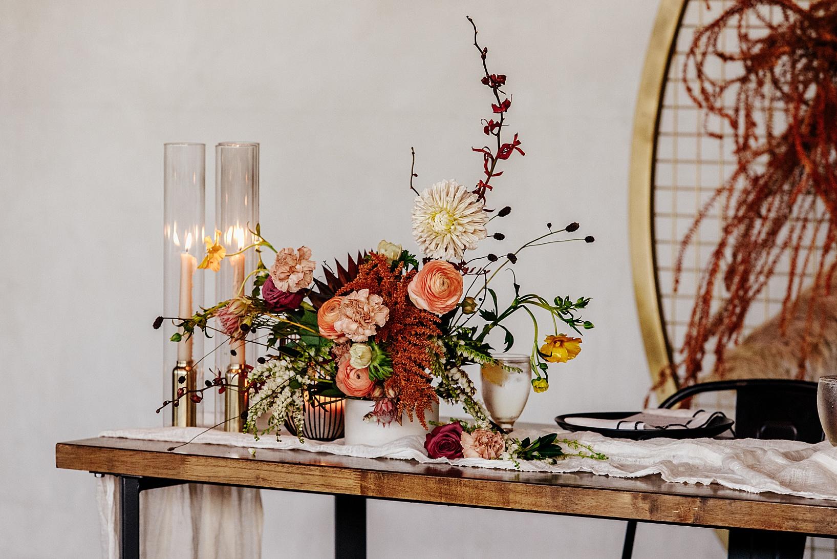 reception details for Fullerton Wedding at Hangar 21 South