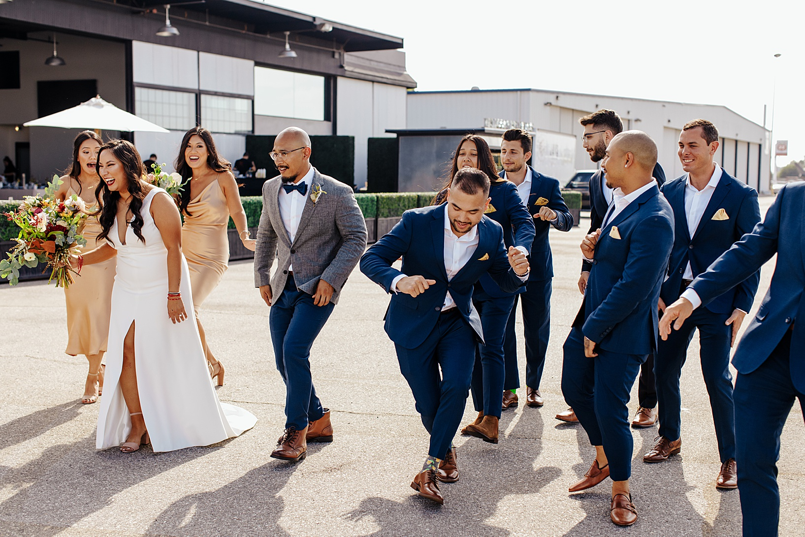 first look for Fullerton Wedding at Hangar 21 South