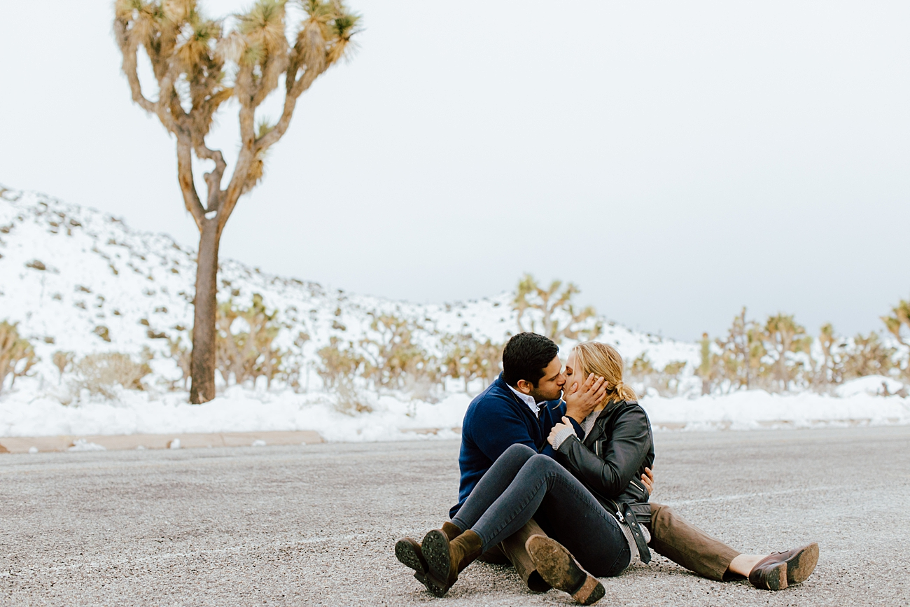 Joshua Tree Engagement Photos in the snow