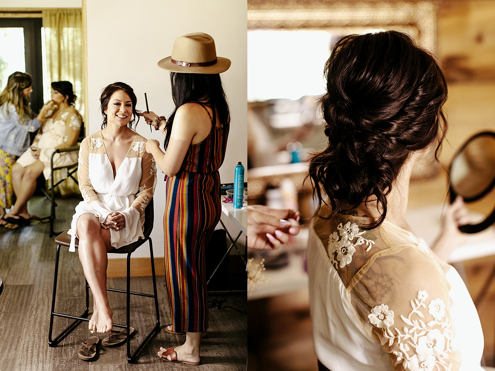 getting ready for Temecula wedding at Galway Downs