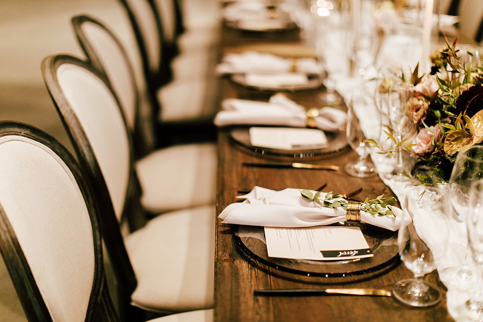 reception details for Temecula wedding at Galway Downs